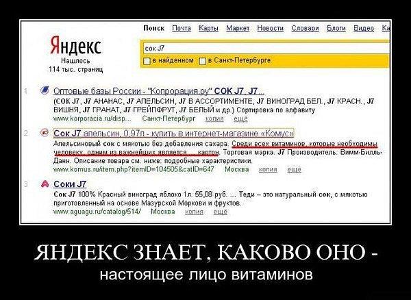 Яндекс знает о витаминах